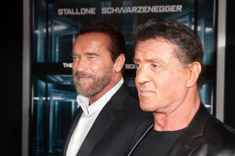Actor Arnold Schwarzenegger and Sylvester Stallone