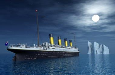 Titanic, Ship, Ocean, Iceberg, 3D Render