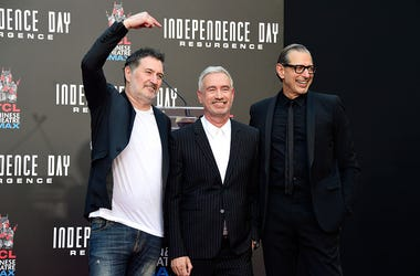 Harald Kloser, Roland Emmerich, and Jeff Goldblum
