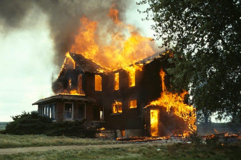 House, Fire, Flames