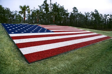 American Flag made of gravel