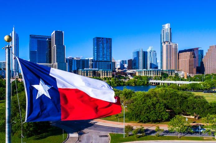 Texas, Flag, Austin, Downtown, Skyline, Blue Sky, Perfect Day