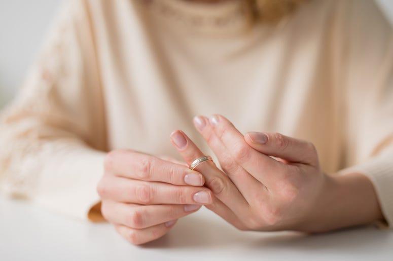 Woman, Taking Off Wedding Ring, Divorce