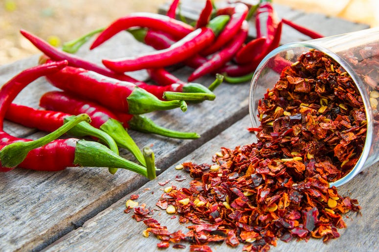 Red Pepper Flakes, Chilis, Wooden Table