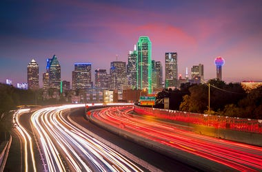 Downtown Dallas, Skyline, Twilight, Sunset, Blurry Traffic