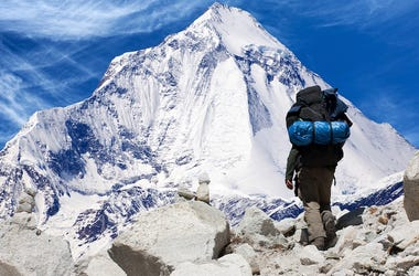 Climber, Mount Everest, Climbing, Mountain, Snow, Sky, Blue, Mountainscape