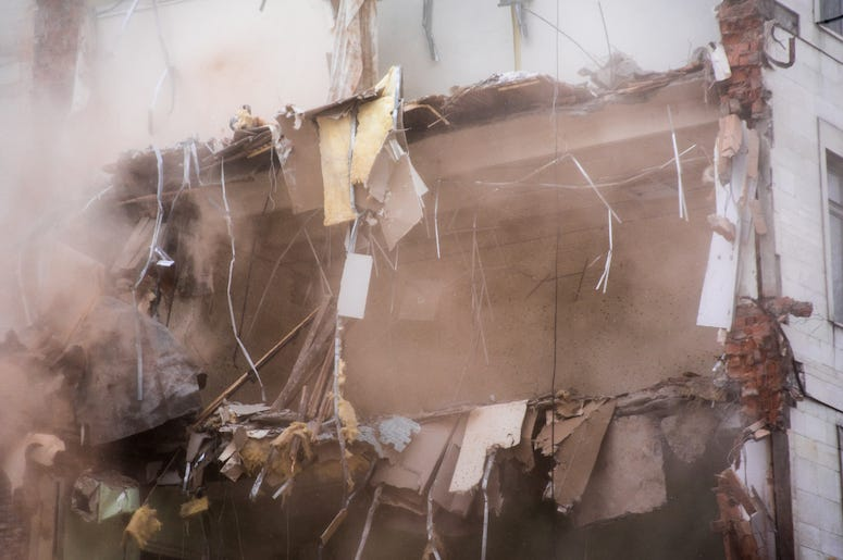 Demolished Building, Floors, Rubble, Explosion