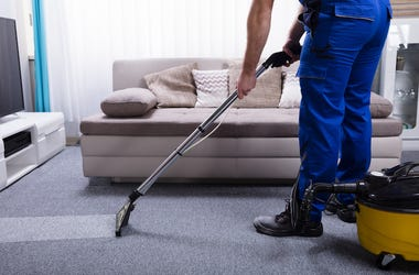 Man, Janitor, Cleaning, Carpet, Living Room, Vacuuming, Blue Jumpsuit