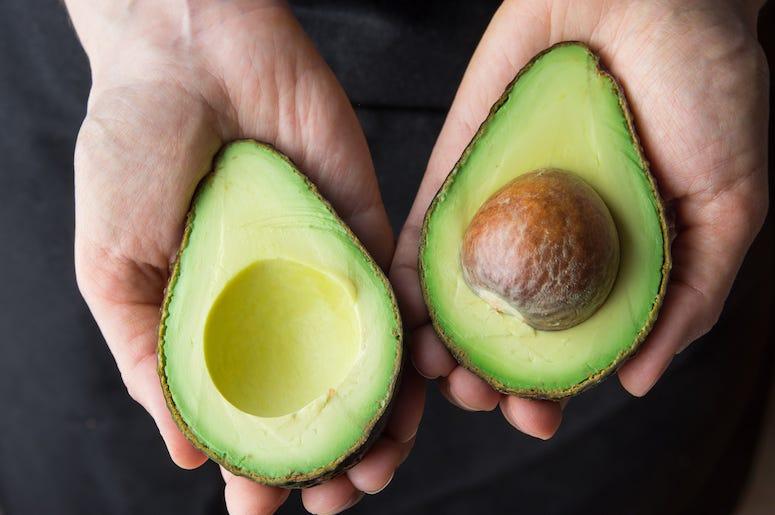 Fresh, Avocado, Sliced, Pit, Green, Organic, Woman Holding Avocado