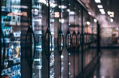 Grocery Store, Aisle, Frozen Foods, Freezer, Refrigerators