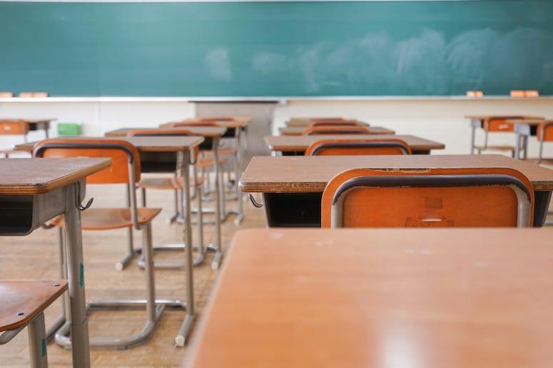 Classroom, School, Empty, Desks, Chalkboard