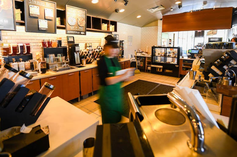 Starbucks, Counter, Store, Blurry, Employee