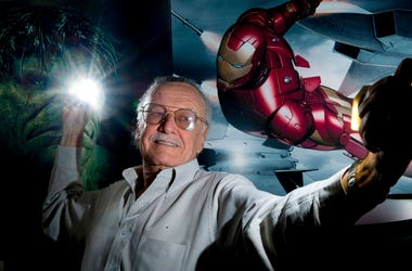 Stan Lee with Iron Man Fist