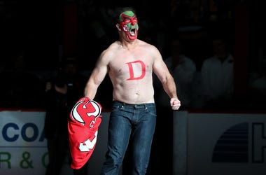 Patrick Warburton, David Puddy, Seinfeld, Face Paint, Shirtless, NHL, New Jersey Devils