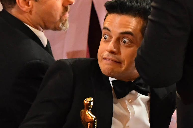 Rami Malek, Oscar, Trophy, 91st Academy Awards, Grimace, Funny Face