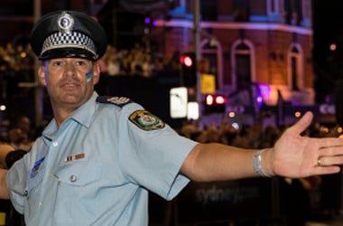 Police officer dances