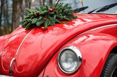 Car, Christmas, Wreath, Hood