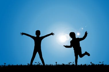 Siblings, Playing, Meadow, Blue Sky, Silhouette