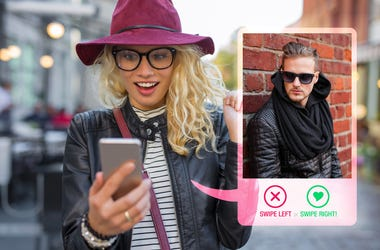Woman swiping on dating app