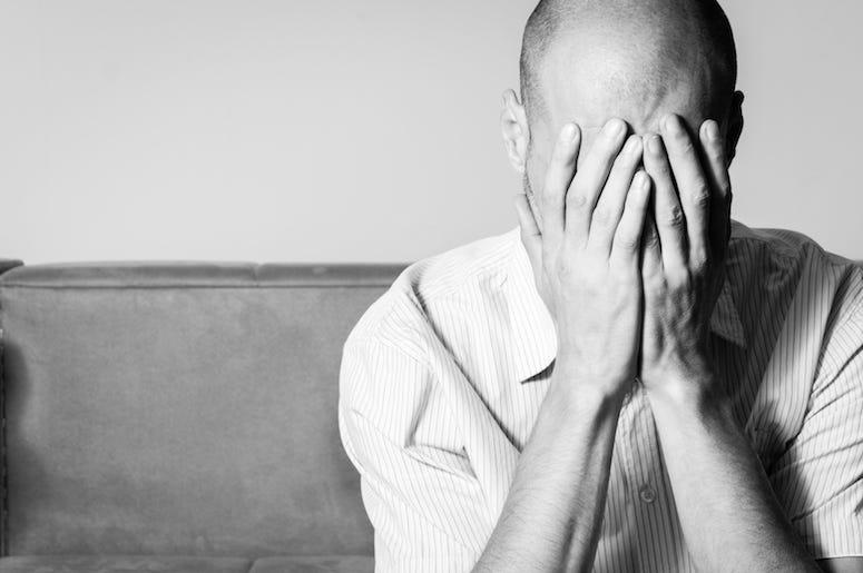 Bald, Man, Sad, Depressed, Hands Holding Head