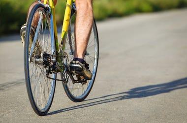 Cyclist, Leg, Pedal, Bike, Street