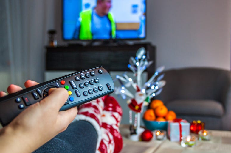 Woman Watching TV, Christmas, Remote, Decorations