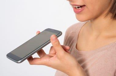 Woman, Talking, iPhone, Speakerphone