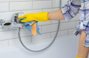 Maid, Woman, Cleaning, Bathroom, Rubber Gloves