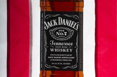 Jack Daniels, Bottle, American Flag, Background