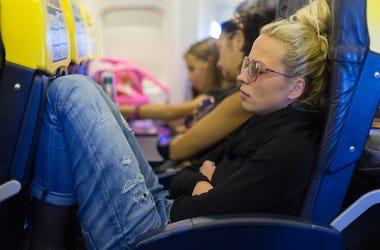 Woman, Napping, Plane, Legroom