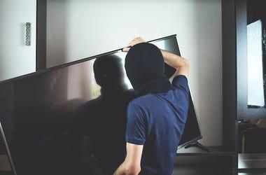 Male, Thief, Balaclava, Mask, Steal, Television