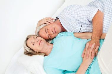 Senior, Couple, Snuggle, Cuddle, Holding Hands
