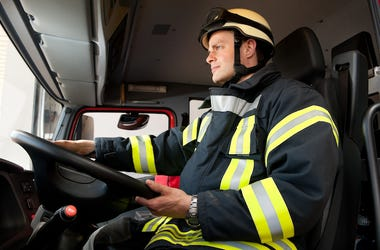 Firefighter Driving Truck