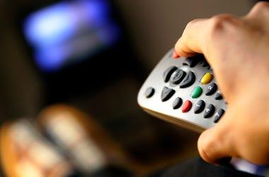 Watching TV, Remote, Man