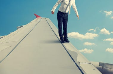 Plane, Flying, Wing, Standing, Businessman