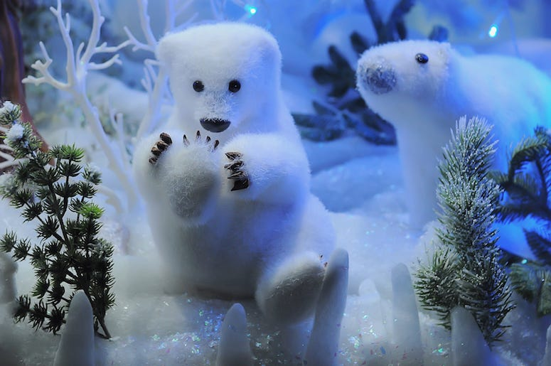 Christmas, Polar Bears, Toys, Display, Snow, Lights