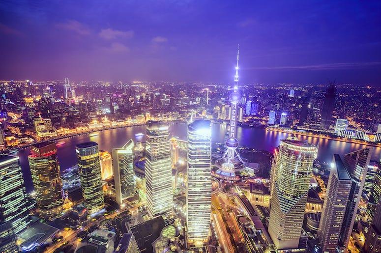 China, Skyline, Buildings, Purple