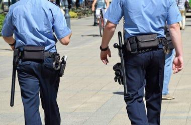 Police, Officers, Walking, Blue Uniform
