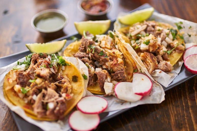 Street Tacos, Corn Tortillas, Carnitas, Veggies, Food