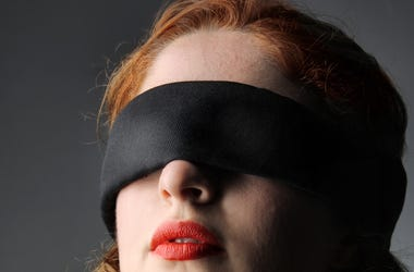 Portrait, Blindfolded, Woman, Redhead