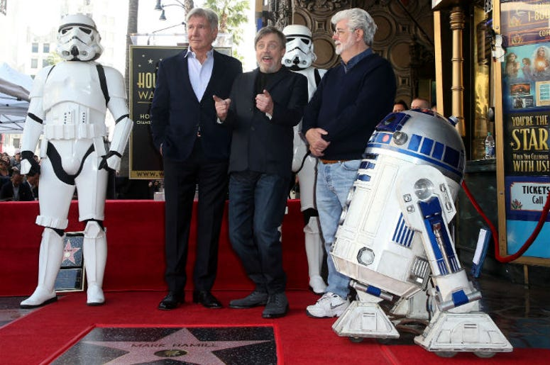 Mark Hamill, Harrison Ford, and George Lucas