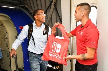 Guy getting a free Nintendo Switch