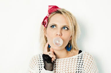 1980s, '80s, Girl, Gum, Fashion, Thinking
