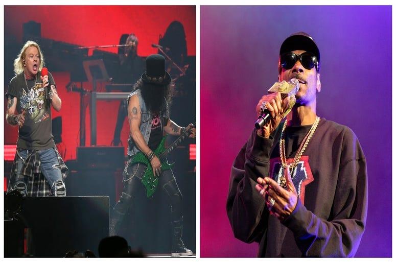 (Left) Guns N' Roses, Snoop Dogg (Right)