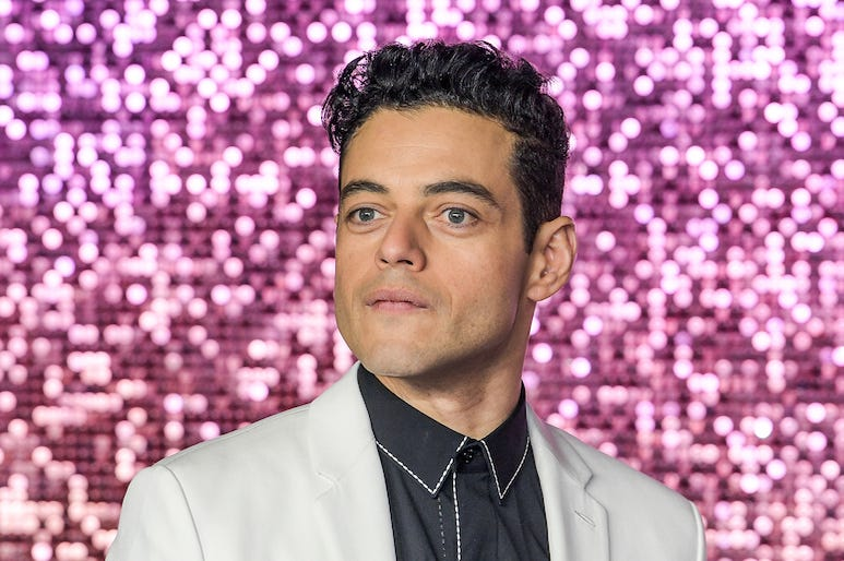 Rami Malek, White Suit, Bohemian Rhapsody, World Premiere, Pink Background