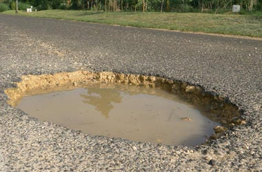 Pothole, Road, Street, Rain Water, Trees
