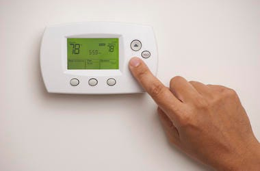 Male, Hand, Finger, Thermostat, Home, 78 Degrees