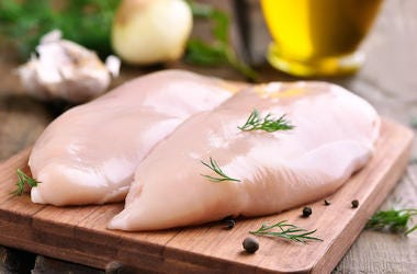 Raw Chicken, Breasts, Cutting Board