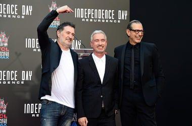 Harald Kloser, Roland Emmerich, and Jeff Goldblum