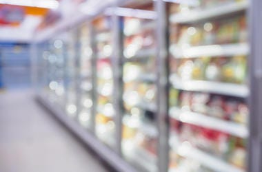 Grocery Store, Freezers, Blurry, Aisle, Bright, Supermarket